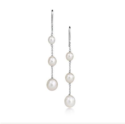 Tiffany 3 Pearls By The Yard Earrings