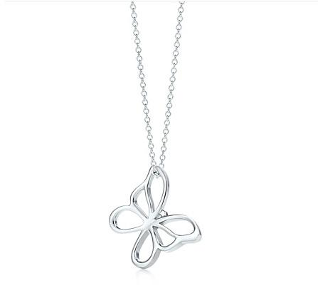 "Tiffany Butterfly pendant. Sterling silver. On a 16"" chain"