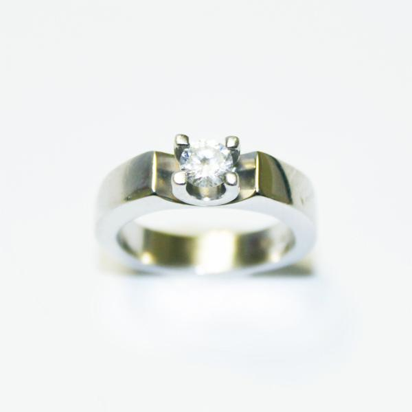 Engagement Ring 0.5 Ct. Solitaire Ring Platinum Clad