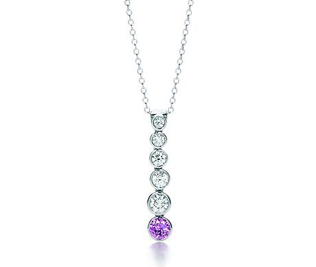 Tiffany Jazz Graduated Drop with Purple Sapphire Pendant