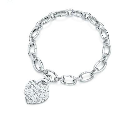 Tiffany Notes Heart Charm and Oval Link Bracelet
