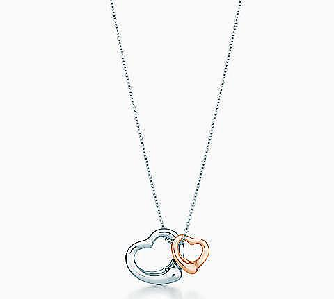 Elsa Peretti 2 open heart charms necklace
