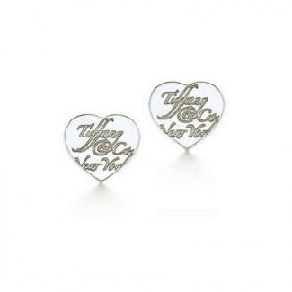 Tiffany Notes Heart Tag Earrings , for pierced ears, 925 Sterling Silver