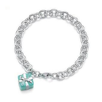 "Tiffany Blue Box Charm Bracelet. Sterling Silver. 7.5"" long"