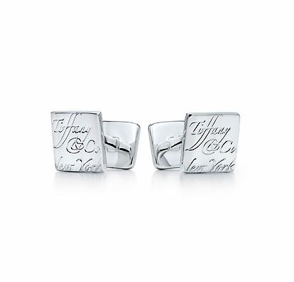 Tiffany Notes Square Cuff Links. Sterling Silver.