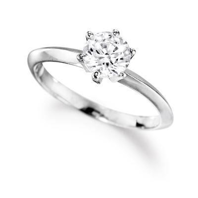 Engagement Ring 1 Ct. Solitaire Ring Platinum Clad